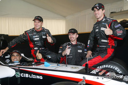 Zsolt Baumgartner, Gianmaria Bruni, Bas Leinders and Tiago Monteiro with the new Minardi PS04B