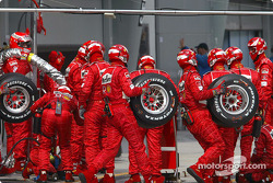 Ferrari pit crew gets ready for pitstop