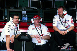 Dieter Gass, Richard Cregan and Mike Gascoyne at the pit wall stand