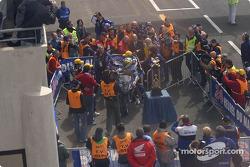 Race winners Stéphane Chambon, Keiichi Kitagawa and Warwick Nowland celebrate victory