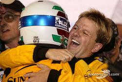 Race winners Max Angelelli and Wayne Taylor celebrate