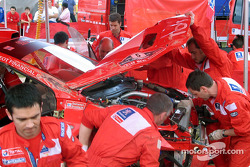 Marcus Gronholm's car at Marlboro Peugeot Total service area after he rolled