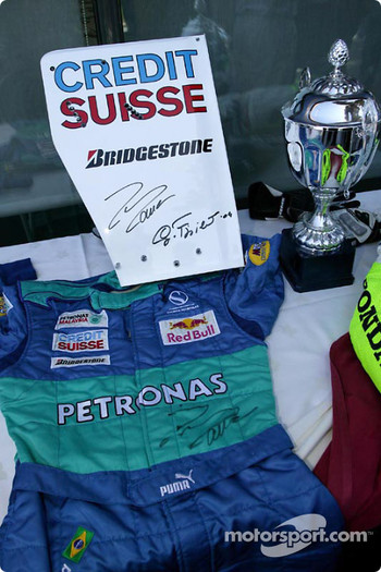 Tennis charity tournament at the Open Sports Club in Barcelona: Felipe Massa's driver suit, one of the items given at the charity