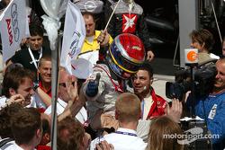 Mattias Ekström celebrates win