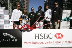 HSBC street hockey event: Jaguar drivers Mark Webber, Christian Klien and Bjorn Wirdheim, with Canadian olympic athletes Lloyd Eisler, Isabelle Brasseur and Bruny Surin