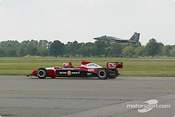 Dan Wheldon races against an F-15 jet fighter at Langley Air Force Base