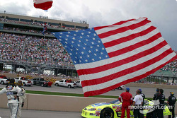 The American Flag arrives before the race