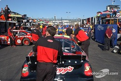 Terry Labonte's #5 gets pushed through the cars coming off the haulers