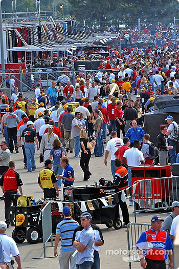 A sea of people in the pits