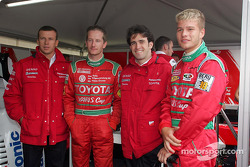 Olivier Panis and Ricardo Zonta with two Yaris Cup drivers