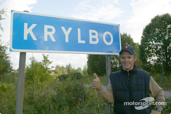 Mattias Ekström at the sign of his home village