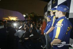 BAR-Honda event in Xin Tian Di: Jenson Button, Takuma Sato and Anthony Davidson