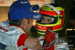 Race winners Marco Werner and JJ Lehto celebrate with Pierre Kaffer