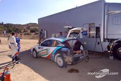Markko Martin and Michael Park get their car refuelled