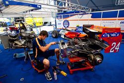 Johnny Cecotto Trident Racing car is worked on by a Trident Racing mechanic