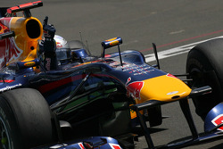 Sebastian Vettel, Red Bull Racing takes the checkered flag