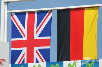Podium: British and German flags