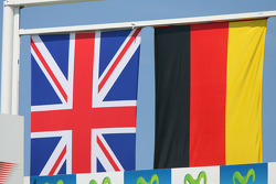 Podium: British and German flags