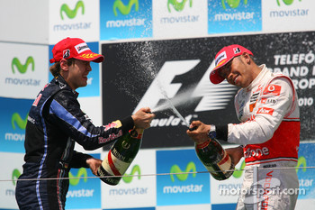 Podium: race winner Sebastian Vettel, Red Bull Racing, second place Lewis Hamilton, McLaren Mercedes