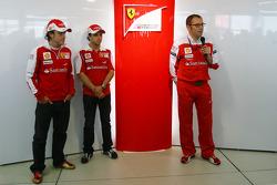 Fernando Alonso, Scuderia Ferrari, Felipe Massa, Scuderia Ferrari and Stefano Domenicali, Scuderia Ferrari Sporting Director present the new Scuderia Ferrari logo