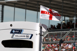 England flag flies from the Williams F1 pit gantry