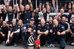 Red Bull team celebrate Mark Webbers win, Mark Webber, Red Bull Racing, Sebastian Vettel, Red Bull Racing