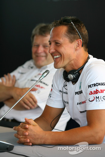 Norbert Haug, Mercedes, Motorsport chief and Michael Schumacher, Mercedes GP
