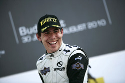 Robert Wickens celebrates on the podium