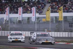Bruno Spengler, Team HWA AMG Mercedes C-Klasse leads Paul di Resta, Team HWA AMG Mercedes C-Klasse