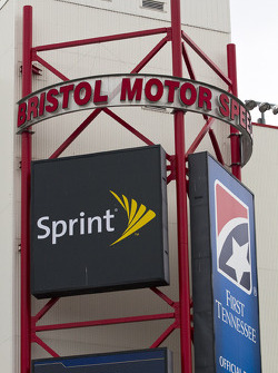 A Bristol Motor Speedway sign outside on the back stretch