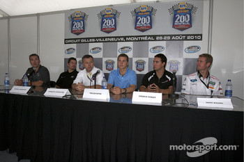 Pre-event press conference: J.R. Fitzpatrick, Patrick Carpentier, event promoter François Dumontier, Trevor Bayne, Andrew Ranger and Mark Wilkins