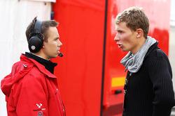Kazim Vasiliauskas with James Goodfield Formula Two Championship Chief Engineer