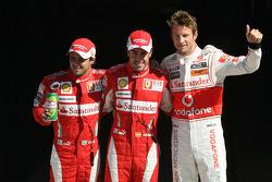 Fernando Alonso, Scuderia Ferrari, Felipe Massa, Scuderia Ferrari and Jenson Button, McLaren Mercedes