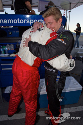 Andrew Hendricks and Charles Putman celebrate as #48 Fall-Line Motorsports BMW M3 Coupe: Charles Espenlaub, Charles Putman takes the GS championship