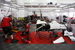 F2 engineers work on the car of Natalia Kowalska