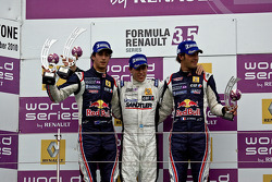 Race 2 podium from left: Jean-Eric Vergne, Esteban Guerrieri and Daniel Ricciardo