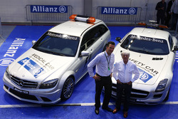 Dr Christian Deuringer, Vice president of Allianz SE, Bernie Ecclestone and the Safety and medical cars