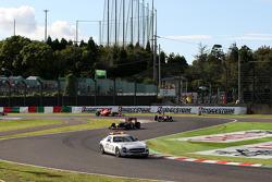 Safety car leads Sebastian Vettel, Red Bull Racing