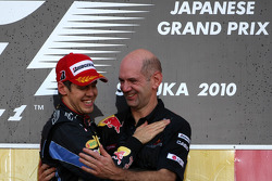 Podium: race winner Sebastian Vettel, Red Bull Racing and Adrian Newey, Red Bull Racing, Technical Operations Director