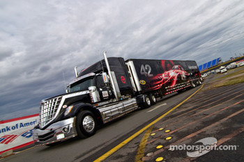 The Target hauler pulls into the track