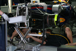 The Red Bull car with a device plugged into the front of the t-tray