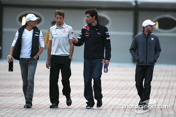 Nico Rosberg, Mercedes GP, Jenson Button, McLaren Mercedes and Mark Webber, Red Bull Racing