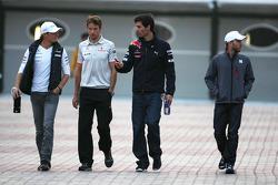 Nico Rosberg, Mercedes GP, Jenson Button, McLaren Mercedes and Mark Webber, Red Bull Racing
