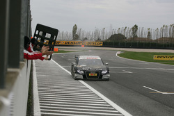 Timo Scheider, Audi Sport Team Abt Audi A4 DTM takes the checkered flag