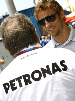 Norbert Haug, Mercedes, Motorsport chief and Jenson Button, McLaren Mercedes