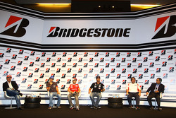 Bruno Senna, Hispania Racing F1 Team, Felipe Massa, Scuderia Ferrari and Lucas di Grassi, Virgin Racing during the Bridgestone conference