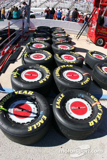 Tires wait in the pit area
