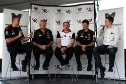 Nick Wirth Virgin Racing Technical Director; John Booth Virgin Racing Team Principal; Nikolay Fomenko Marussia Motors Presidentand Graeme Lowdon Chief Executive of Virgin Racing at a press conference where Virgin Racing announced that Marussia have acquir