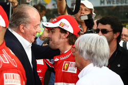 King Juan Carlos of Spain with Fernando Alonso, Scuderia Ferrari