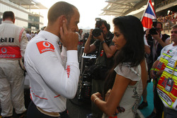Lewis Hamilton, McLaren Mercedes with Nicole Scherzinger, Singer in the Pussycat Dolls and girlfriend of Lewis Hamilton